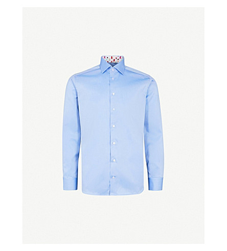 ETON Slim-fit cotton-poplin shirt (Blue