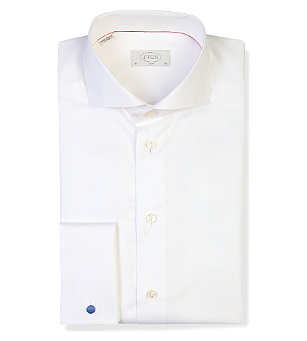 ETON Slim-fit double-cuff cotton-twill shirt (White