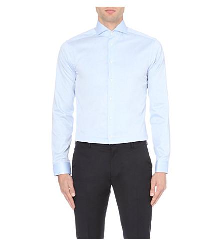 ETON 超级修身版型单袖棉衬衫 (蓝色