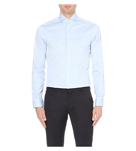 ETON 修身版型 single-cuff 棉衬衫 (蓝色