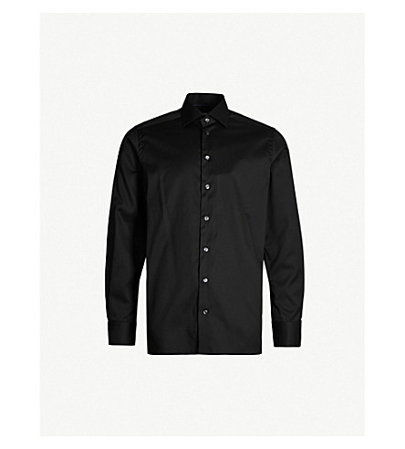 ETON Contemporary-fit cotton-twill shirt (Black