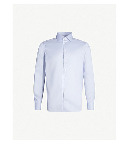 ETON Contemporary-fit cotton-twill shirt (Light blue