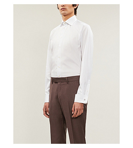 ETON Contemporary-fit double-cuff cotton shirt (White