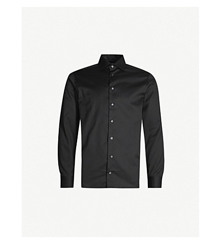 ETON Slim-fit cotton-twill shirt (Black