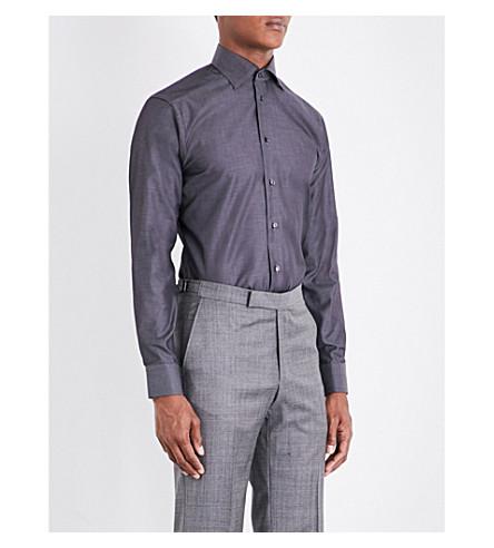 slim sarga fit de en algodón Camisa ETON Gris TIxq15T