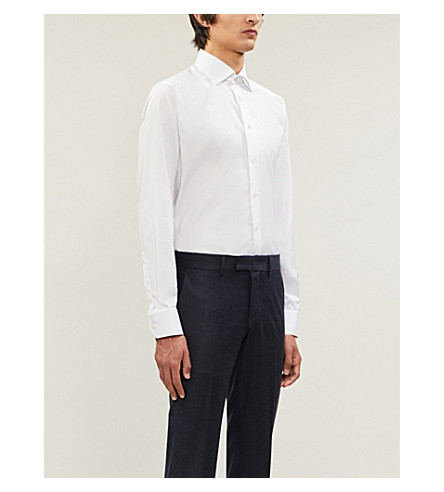 Camisa de slim sarga ETON Blanco algodón de fit qXTdT