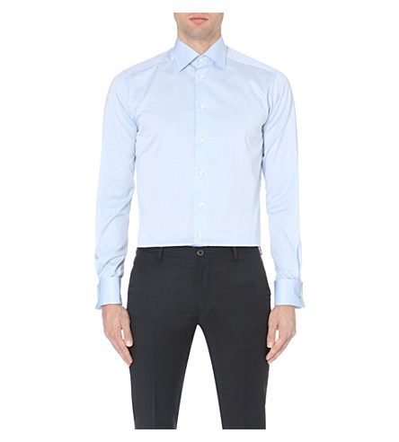 ETON Slim-fit French-cuff cotton-twill shirt (Blue