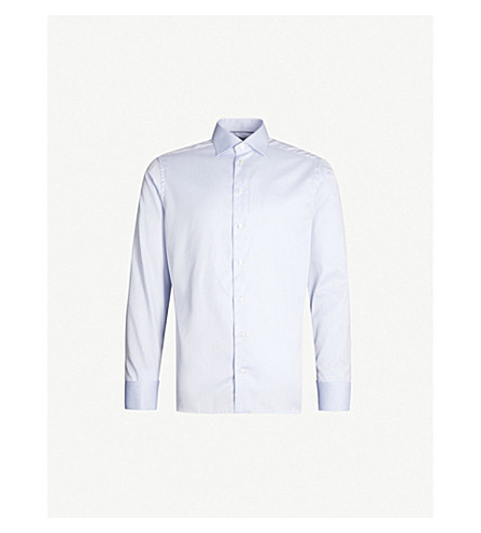 ETON Slim-fit French-cuff cotton-twill shirt (Light blue
