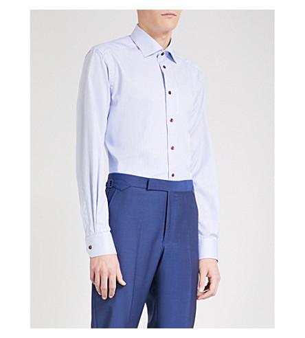 ETON Striped contemporary-fit cotton shirt (Blue
