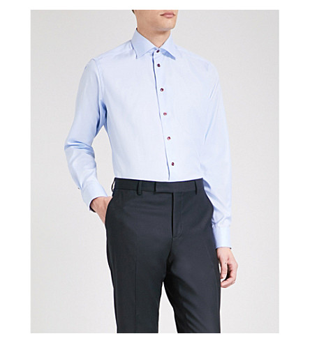 ETON Herringbone-weave contemporary-fit cotton shirt (Blue
