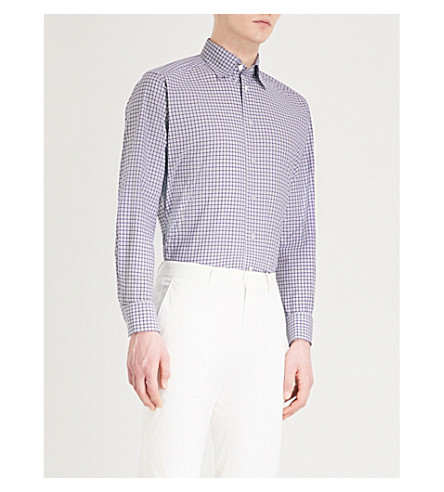 ETON Checked contemporary-fit cotton shirt (Blue