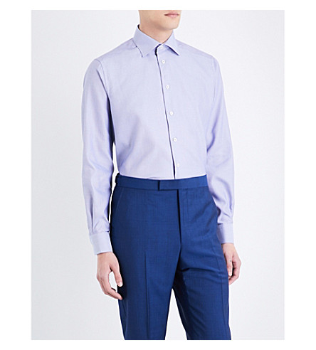 ETON Pinstriped contemporary-fit cotton shirt (Blue