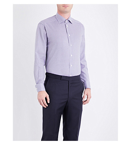 ETON Contemporary-fit houndstooth-patterned cotton shirt (Blue