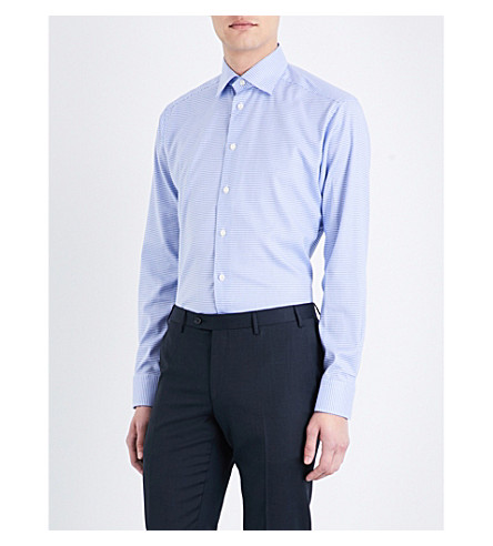 ETON Houndstooth slim-fit cotton shirt (Blue
