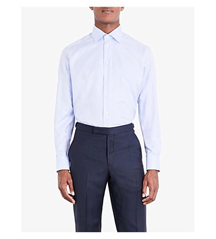 JARRE Contemporary-fit single-cuff cotton-twill shirt (Blue