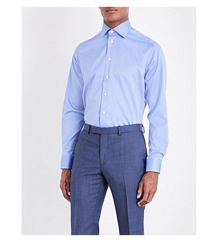 ETON Herringbone-patterned cotton shirt (Blue