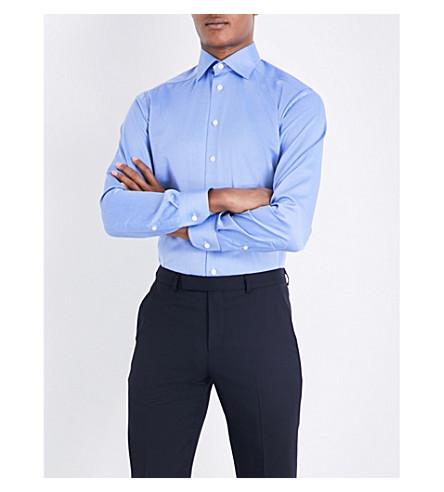 ETON 人字纹图案棉衬衫 (蓝色
