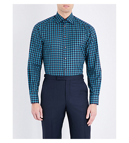 ETON Contemporary-fit check-print cotton shirt (Blue