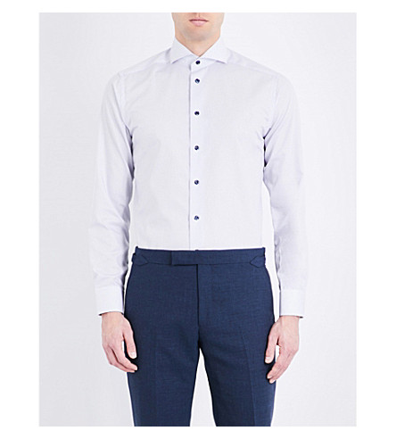 ETON Dotted slim-fit cotton shirt (White