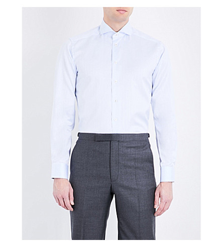 ETON Contrast-lining contemporary-fit cotton shirt (Blue
