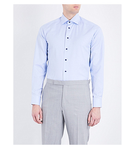 ETON Houndstooth contemporary-fit cotton shirt (Blue