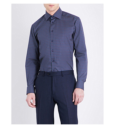 ETON Polka-dot contemporary-fit cotton shirt (Blue