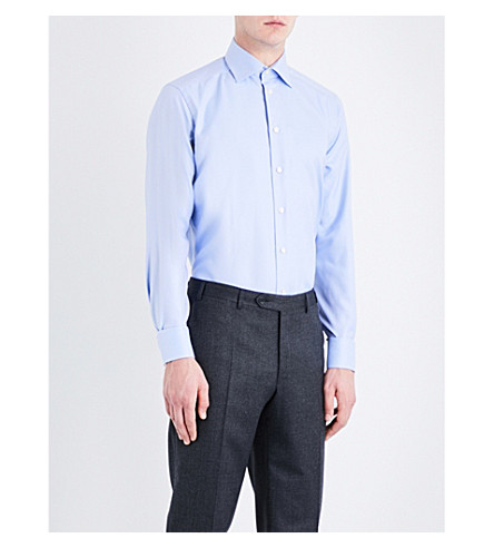 ETON Striped contemporary-fit cotton-twill shirt (Blue