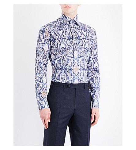 ETON Paisley-print slim-fit cotton-twill shirt (Blue