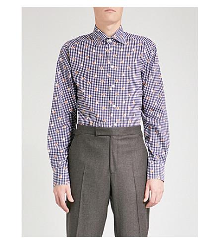 ETON Bulldog-print contemporary-fit cotton shirt (Blue