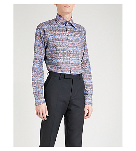 ETON Aztec-patterned slim-fit cotton shirt (Blue
