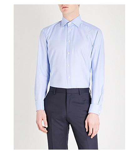 ETON Grid pattern contemporary-fit cotton shirt (Blue