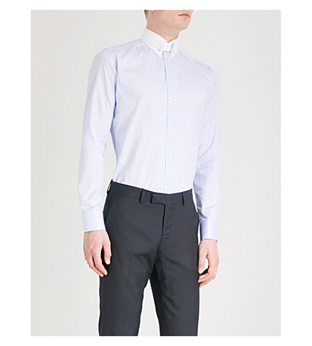 ETON Striped slim-fit cotton shirt (Blue