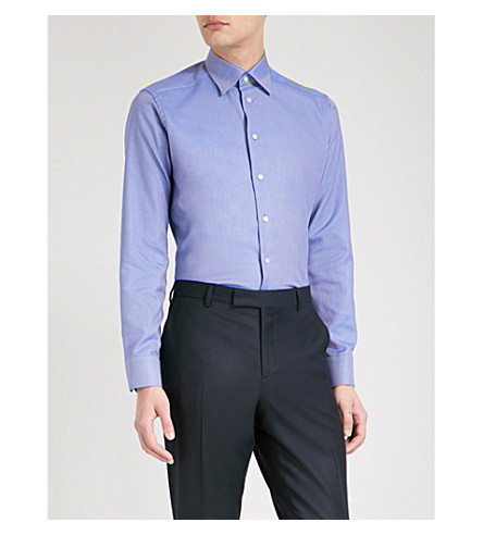 ETON Textured slim-fit cotton shirt (Blue