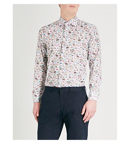 ETON Animal-print cotton shirt (Offwhite/brown