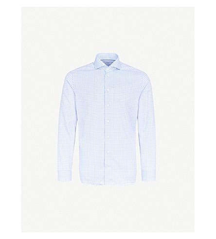 ETON Gingham slim-fit cotton shirt (Blue