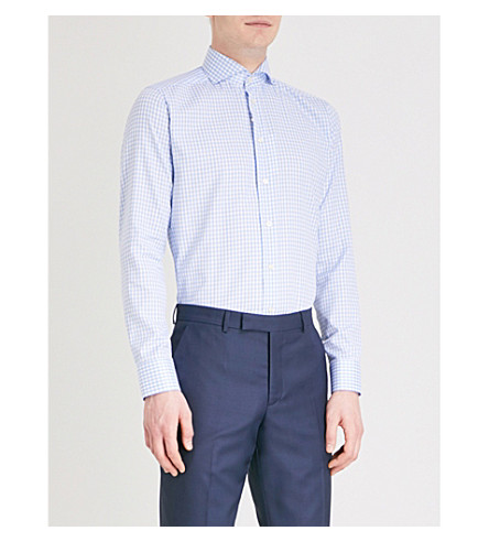 ETON Gingham slim-fit cotton shirt (Blue