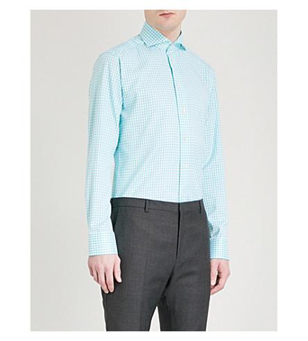 ETON Gingham slim-fit cotton shirt (Green