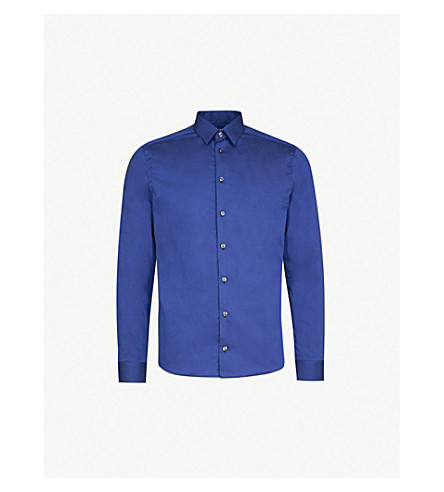 ETON 超级修身版型棉府绸衬衫 (蓝色