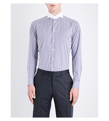 ETON Striped contrast-collar slim-fit cotton-poplin shirt (Blue