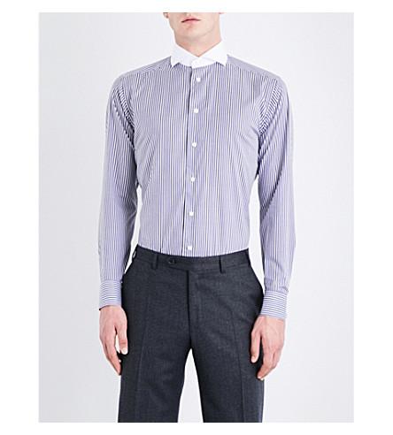 ETON 条纹型对比领修身版型棉府绸衬衫 (蓝色