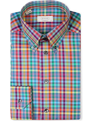 ETON Checked contemporary-fit single-cuff shirt