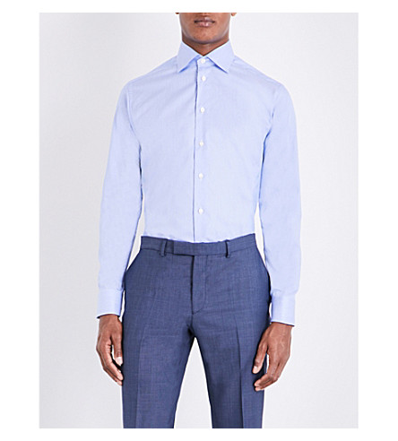 ETON Slim-fit striped twill shirt (Blue+striped