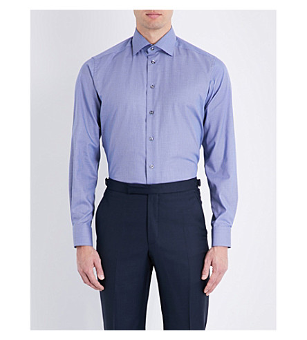 ETON Houndstooth-print contemporary-fit cotton shirt (Blue