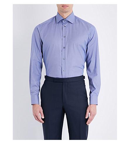 ETON 犬牙-打印当代适合棉衬衫 (蓝色