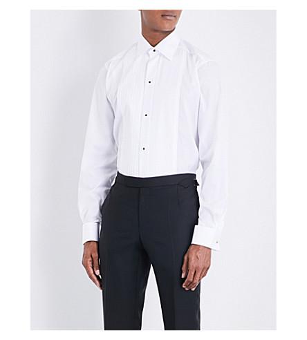 ETON Plissé修身版型 double-cuff 棉衬衫 (白色