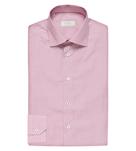 ETON Micro-checked contemporary-fit cotton-twill shirt (Pink