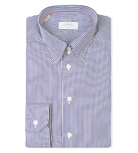 ETON Slim-fit single-cuff cotton-twill shirt (Navy
