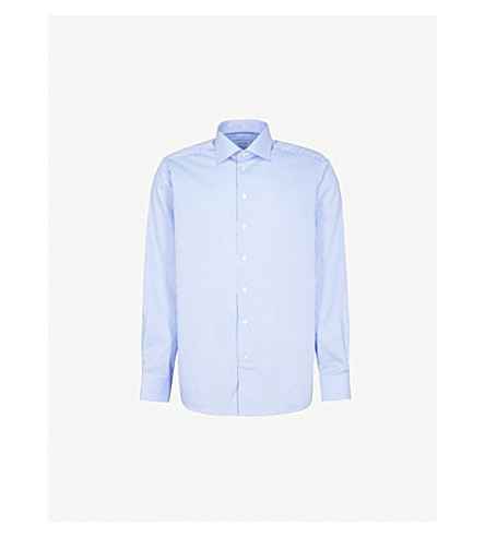 ETON Striped contemporary-fit cotton shirt (Blue+&+white