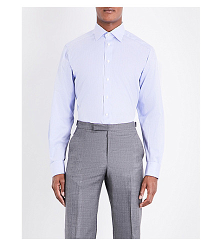 JARRE Contemporary-fit double-cuff cotton-twill shirt (Blue