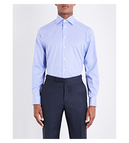 ETON Contemporary-fit micro-check cotton shirt (Blue